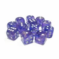 Chessex Borealis Purple with White 16mm D6 Dice Block (12 Dice)