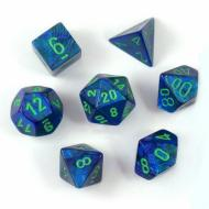 Chessex Lustrous Dark Blue with Green 7-Dice Set