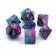 Chessex Gemini Blue Purple with Gold 7-Dice Set