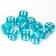 Chessex Translucent Teal with White 16mm D6 Dice Block (12 Dice)
